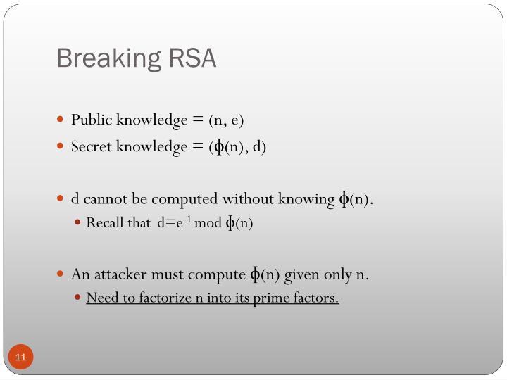 Breaking RSA