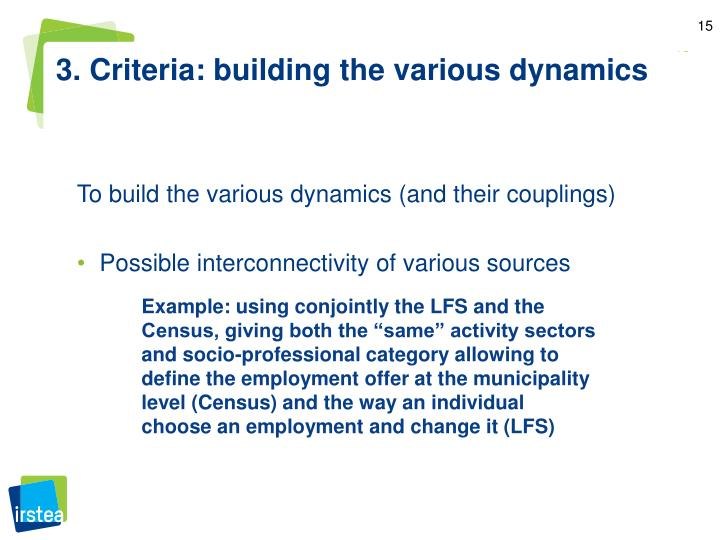 3. Criteria: building the various dynamics