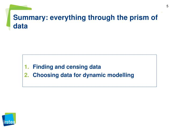 Summary: everything through the prism of data