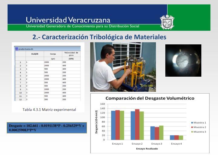 2.- Caracterización Tribológica de Materiales