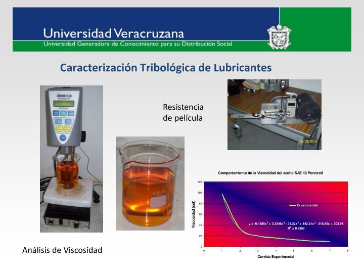 Caracterización Tribológica de Lubricantes