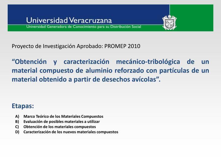 Proyecto de Investigación Aprobado: PROMEP 2010