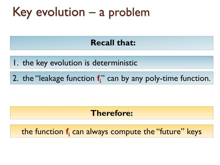 Key evolution – a