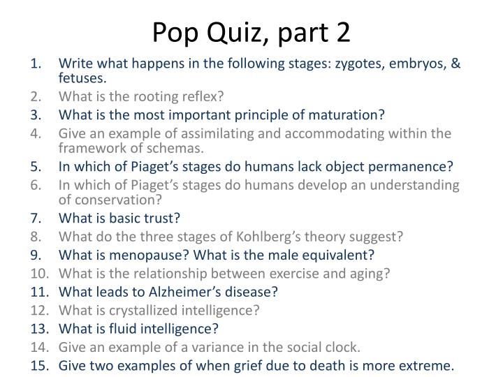 Pop Quiz, part 2