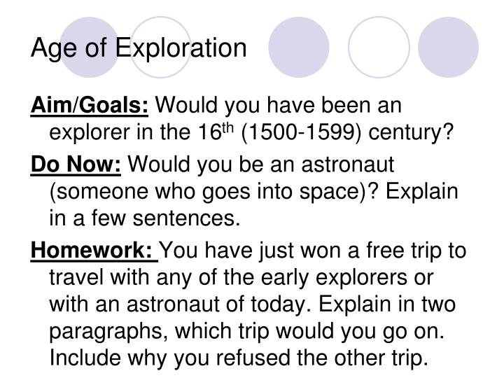 essay about the age of exploration The age of exploration the renaissance brought an array of changes to the european continent new innovations in the fields of science, math, arts, and literature were sparked during this time period.