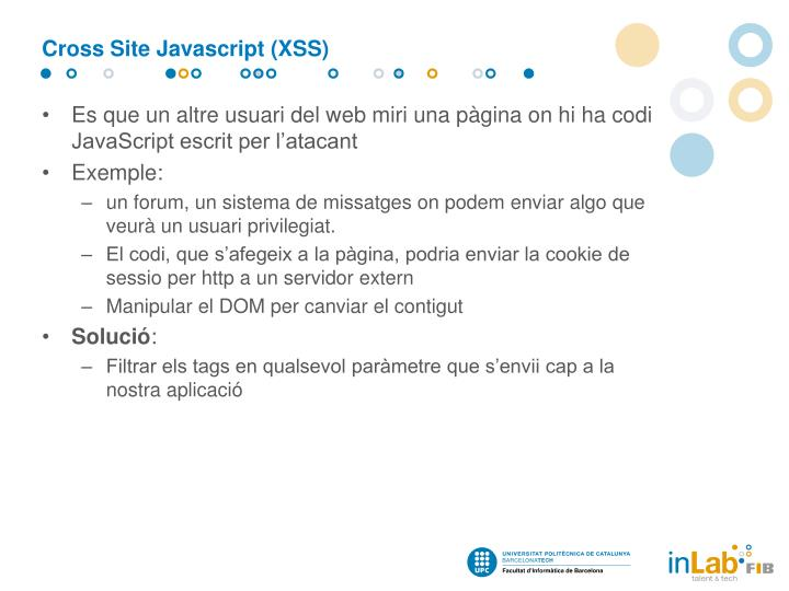 Cross Site Javascript (XSS)
