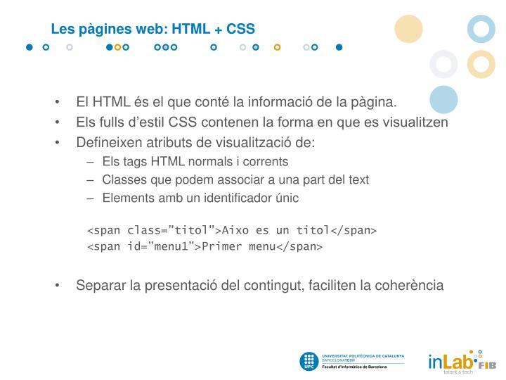 Les pàgines web: HTML + CSS