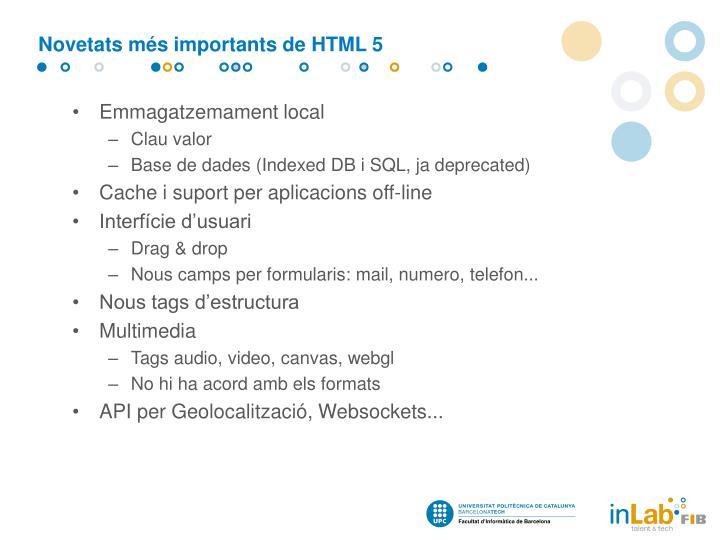 Novetats més importants de HTML 5