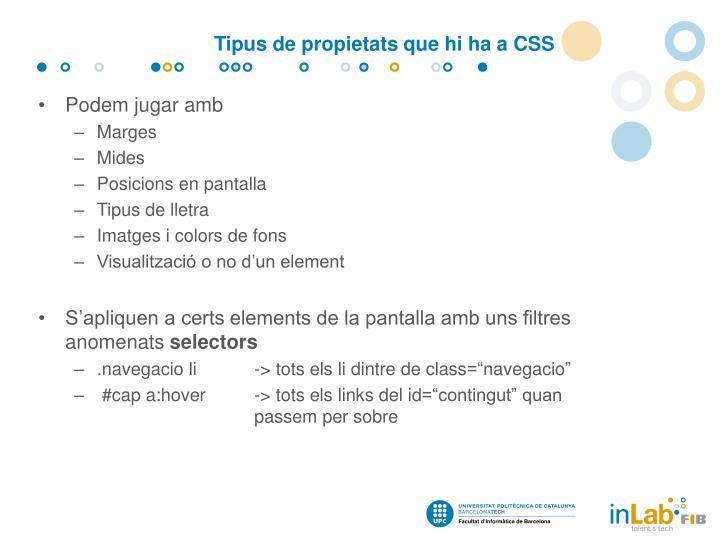 Tipus de propietats que hi ha a CSS