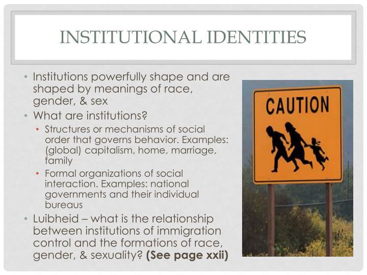 Institutional identities