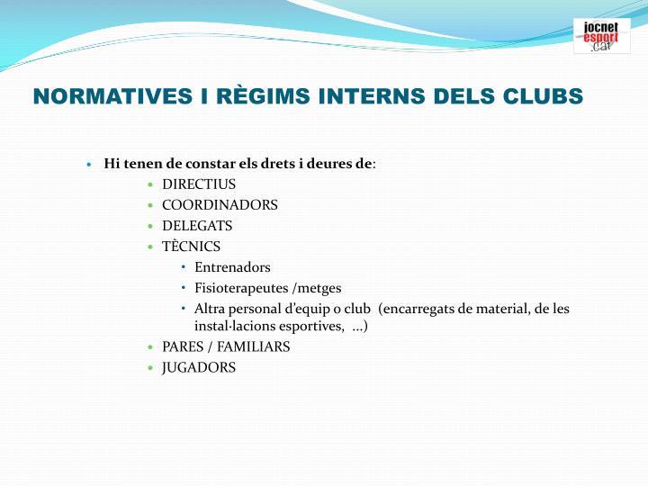 NORMATIVES I RÈGIMS INTERNS DELS CLUBS