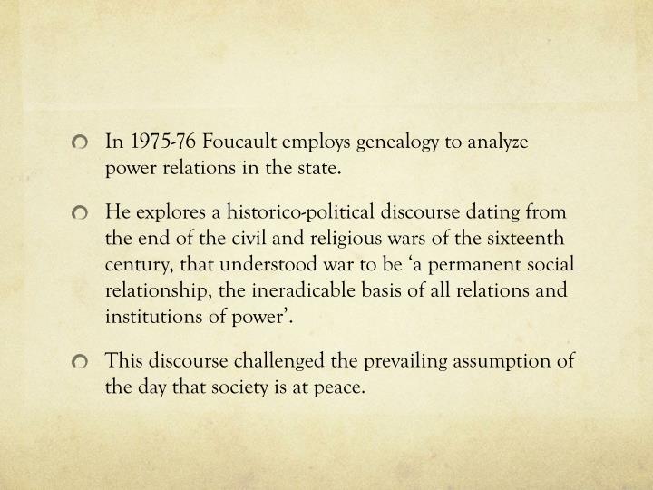 In 1975-76 Foucault