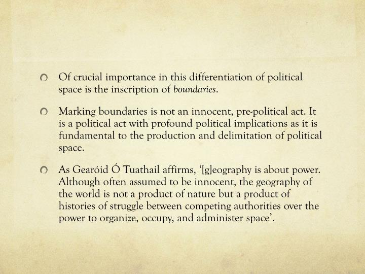Of crucial importance in this differentiation of political space is the inscription of