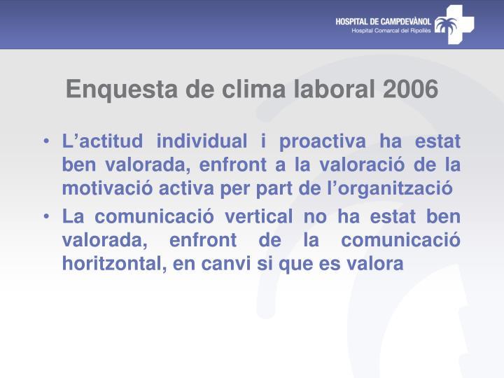 Enquesta de clima laboral 2006