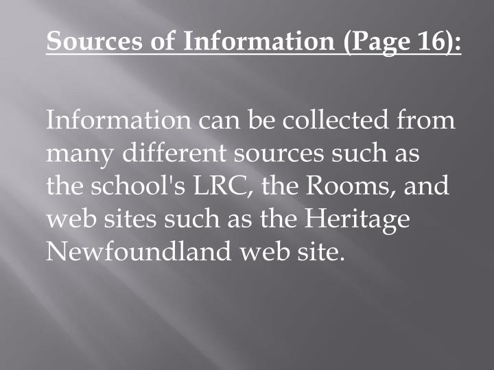 Sources of Information (Page 16):