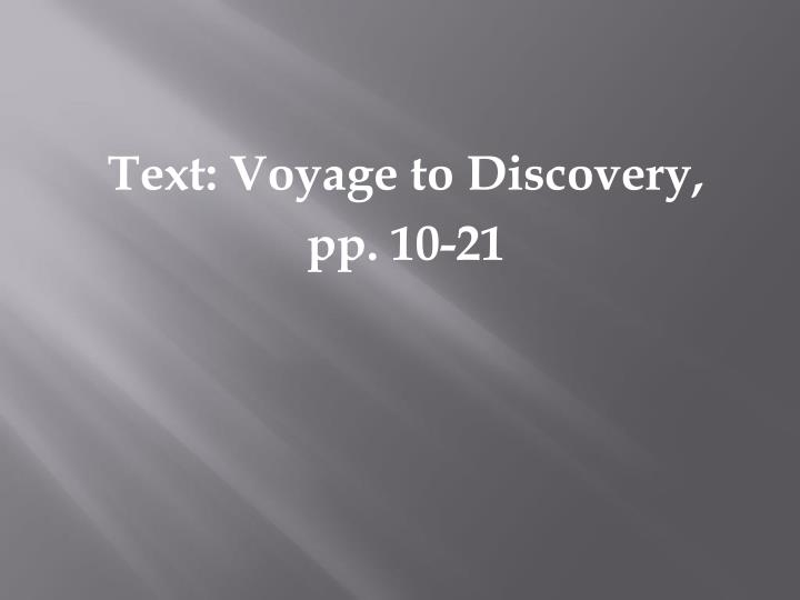 Text: Voyage to Discovery,