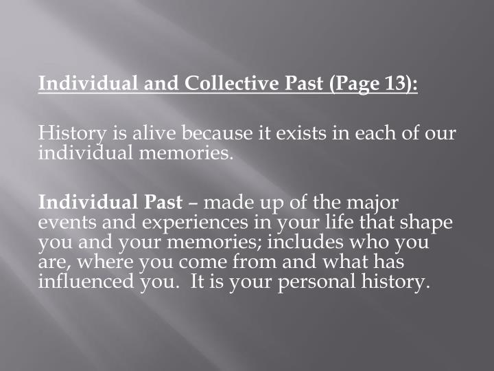 Individual and Collective Past (Page 13):