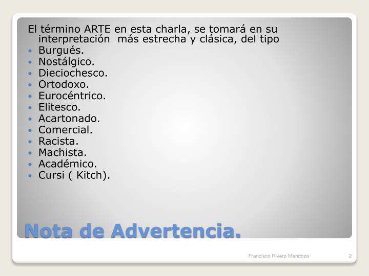 Nota de advertencia