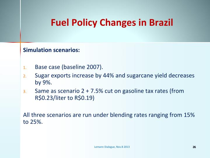 Fuel Policy Changes in Brazil