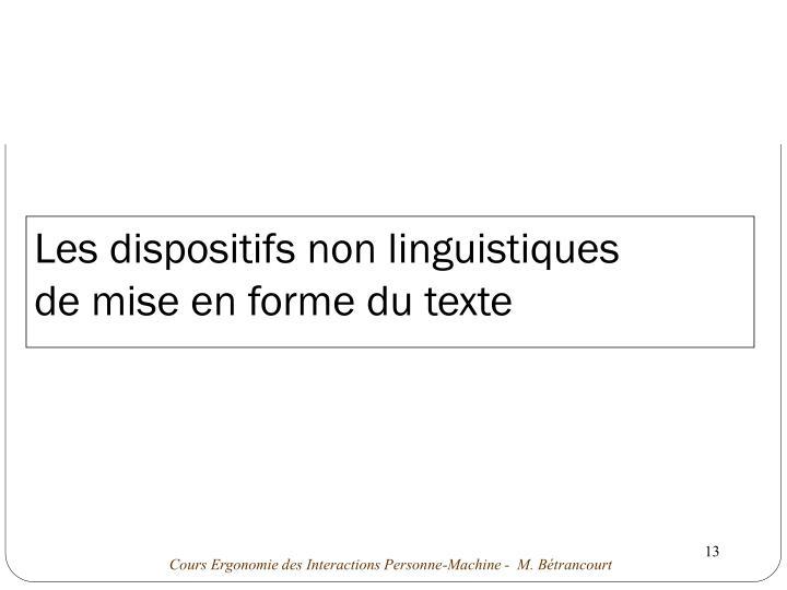 Les dispositifs non linguistiques