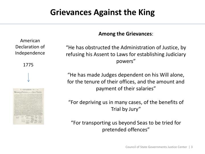 Grievances Against the King
