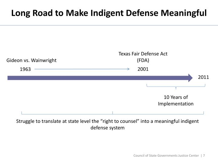 Long Road to Make Indigent Defense Meaningful