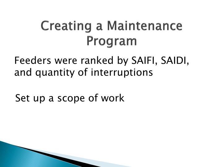 Creating a Maintenance Program