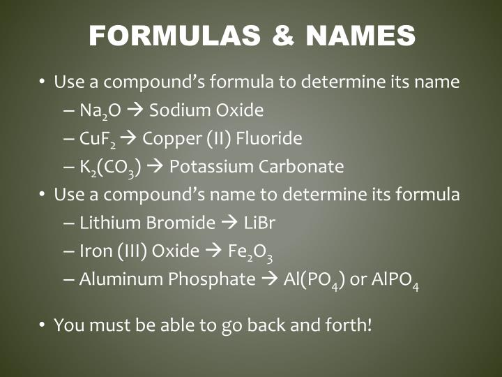Formulas & Names