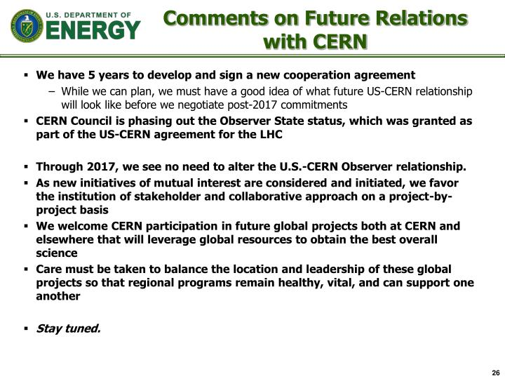 Comments on Future Relations with CERN