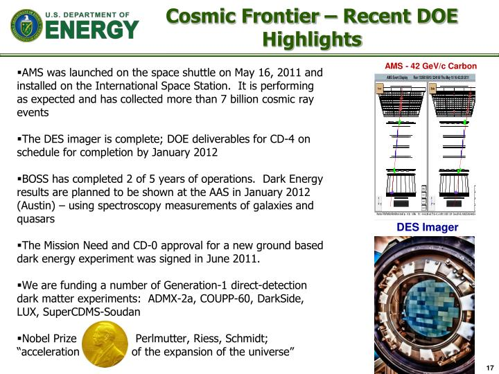 Cosmic Frontier – Recent DOE Highlights