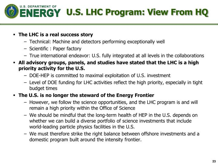 U.S. LHC Program: View From HQ