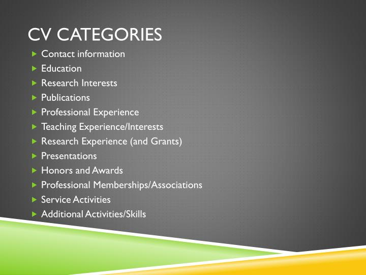 CV Categories
