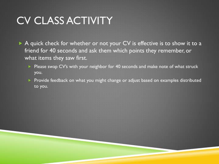 CV Class Activity