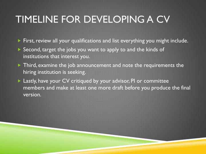Timeline for developing a cv