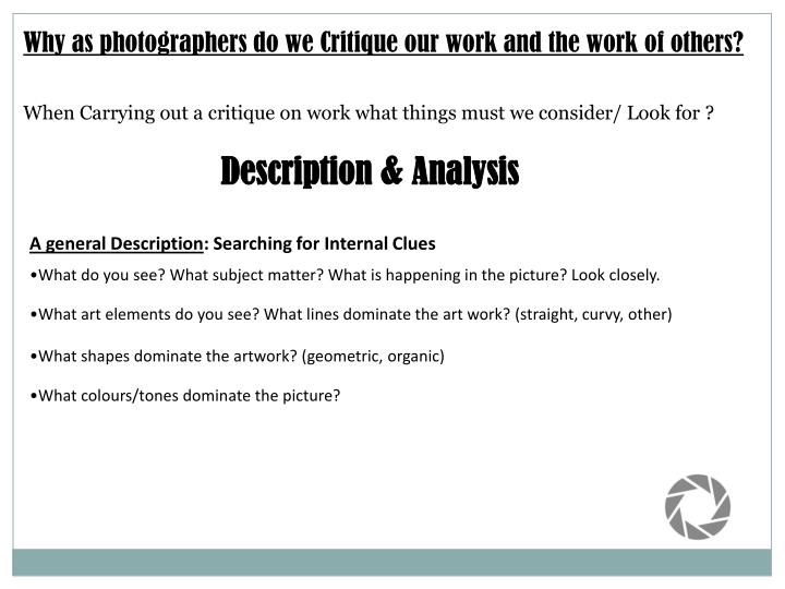 Why as photographers do we Critique our work and the work of others?