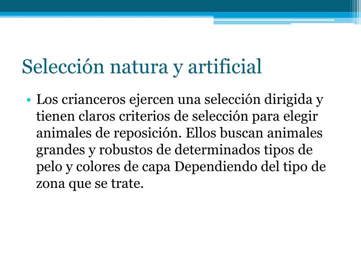 Selección natura y artificial