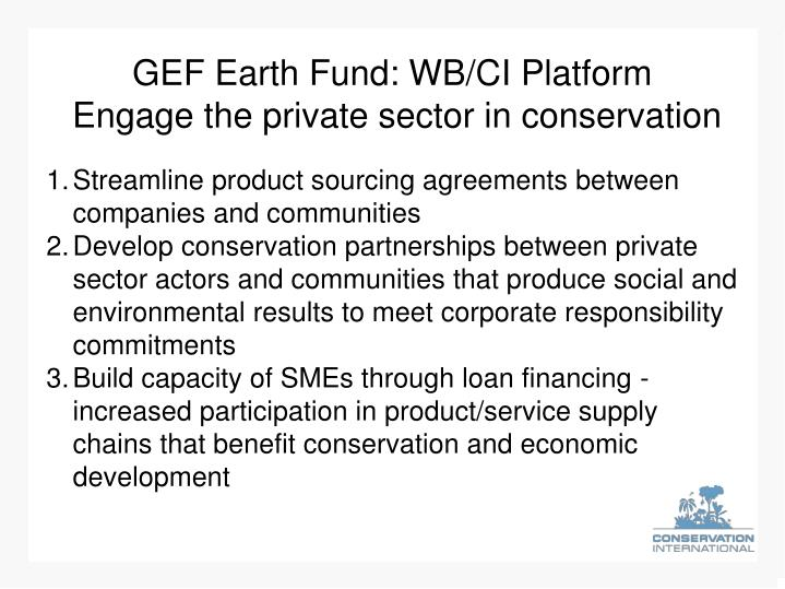 GEF Earth Fund: WB/CI Platform