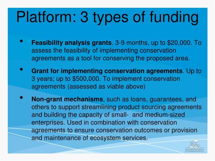 Platform: 3 types of funding