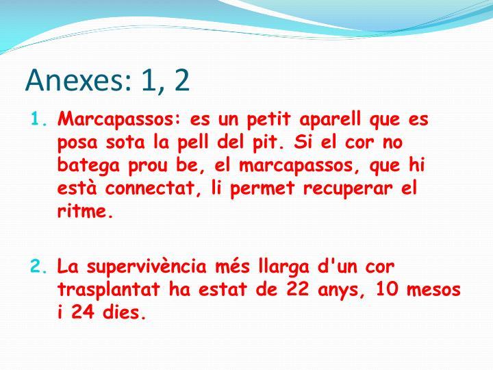 Anexes: 1, 2