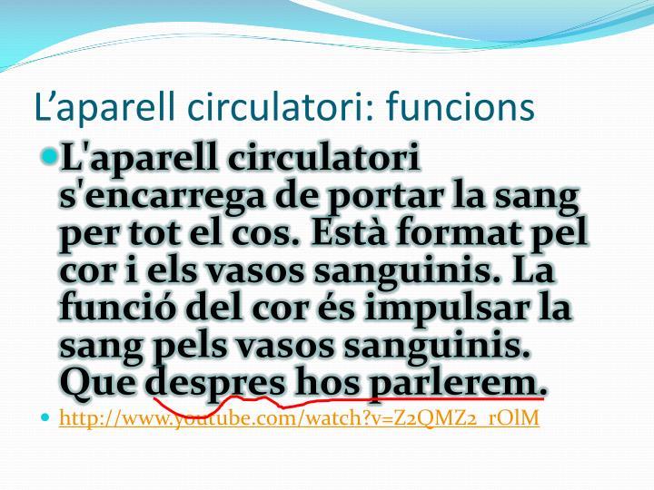 L'aparell circulatori: funcions