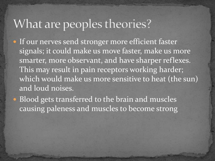 What are peoples theories?