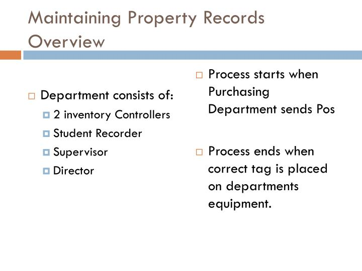 Maintaining Property Records Overview