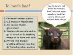 taliban s beef