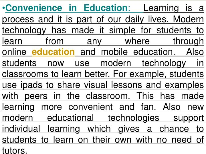 Convenience in Education