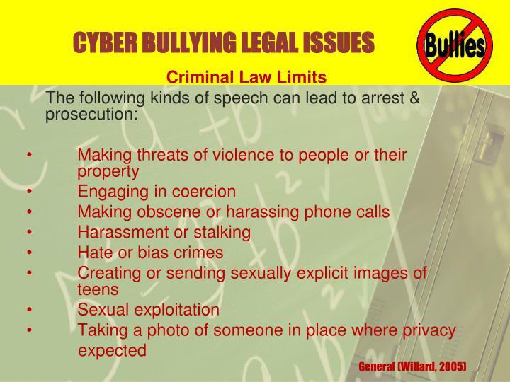 CYBER BULLYING LEGAL