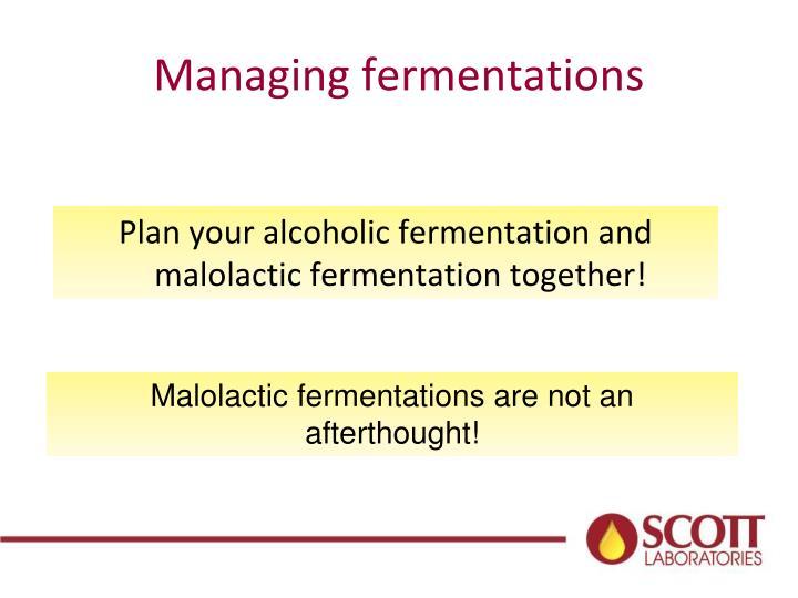 Managing fermentations