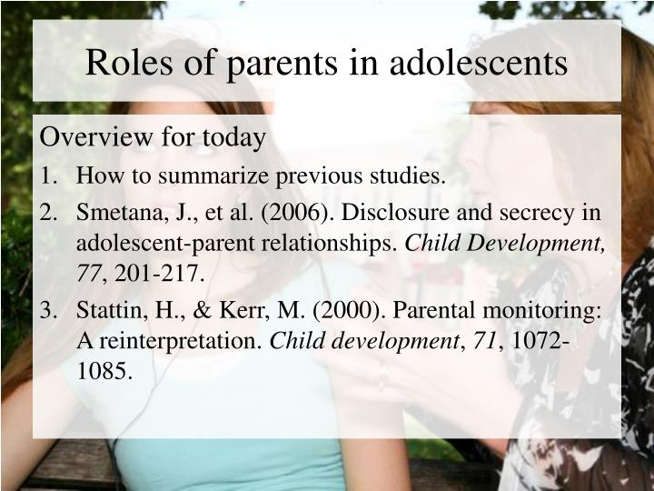 Roles of parents in adolescents