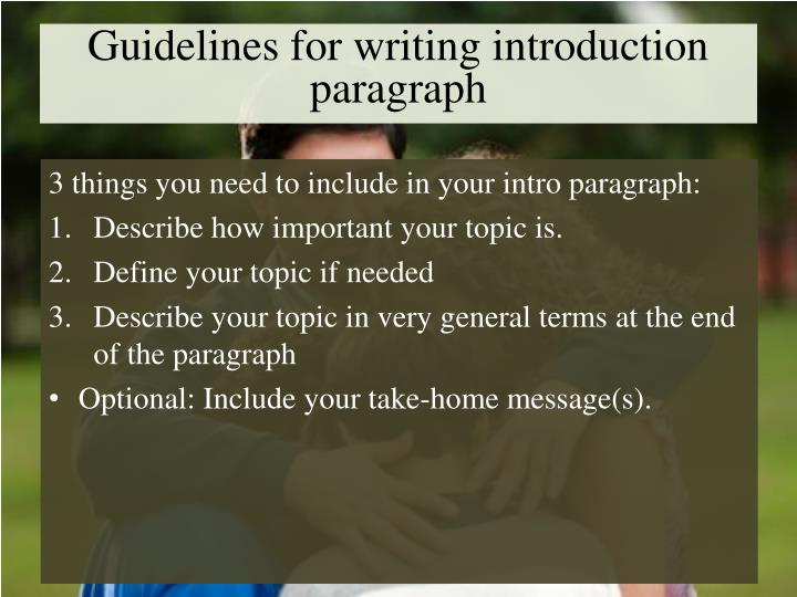 Guidelines for writing introduction