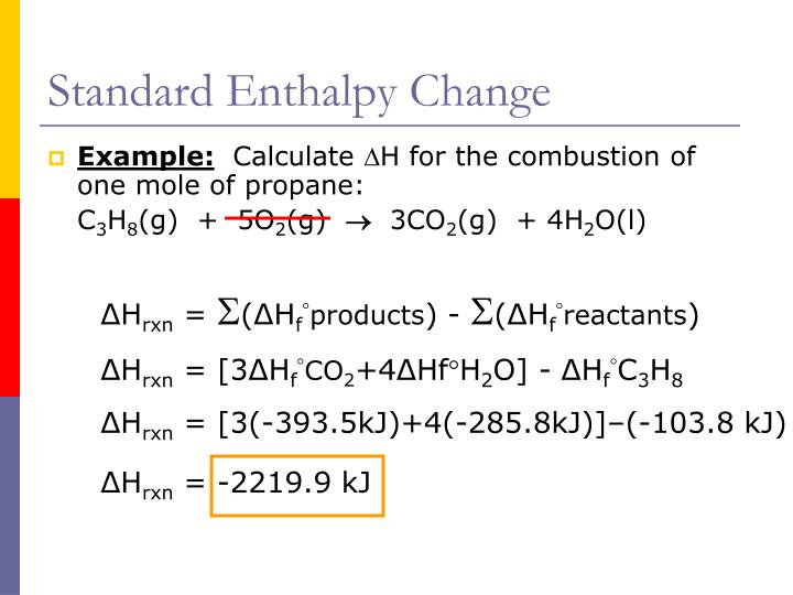 Standard Enthalpy Change