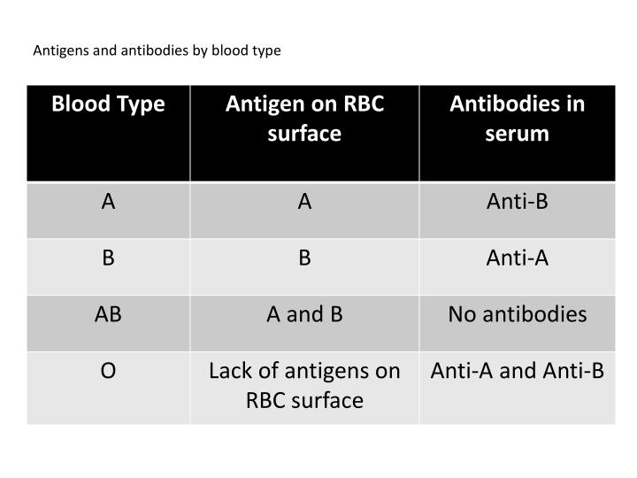 Antigens and antibodies by blood type